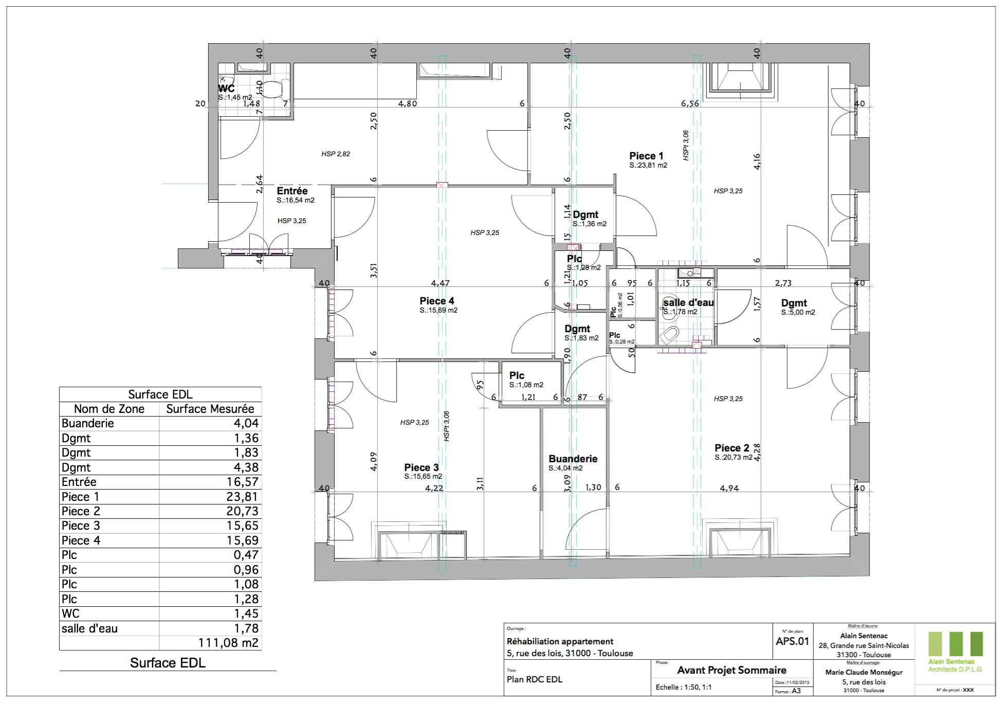 Plan Porte À Galandage rénovation d'un appartement - asa architetures